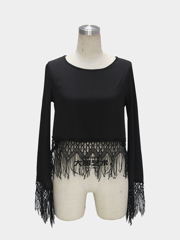 Black Scoop Collar Blouse with Lace Tassel Trim