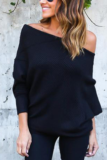 Lightweight Off Shoulder Bat Long Sleeves Loose Jumper In Dark Blue