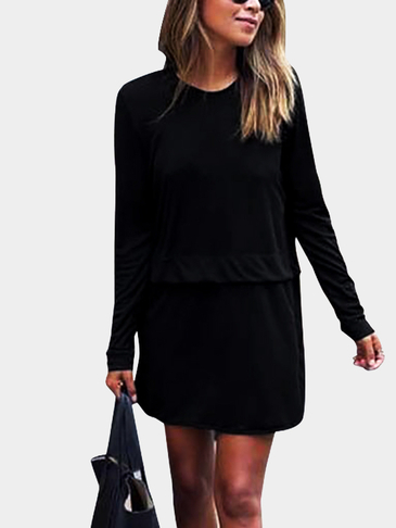 Black Round Neck Causal Loose Dress