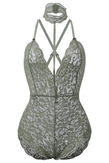 Green Halter Neck Strappy Lace Bodysuit