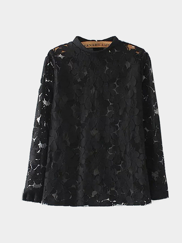 Mesh Insert Lace Blouse in Black