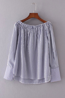 Stripe Pattern Off Shoulder Long Sleeves Blouse