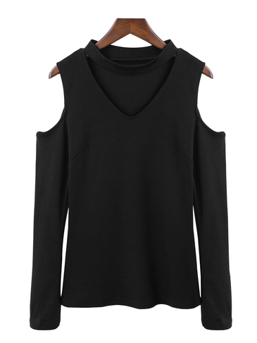 Con scollo a V frontale Cold Shoulder Top termica in nero