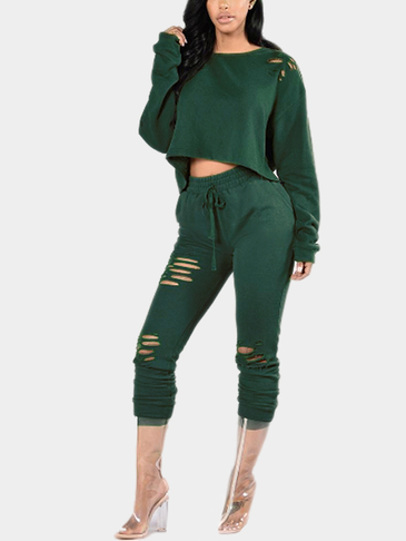 Dark Green Casual Ripped Round Neck Drawstring Waist Long Sleeves Suit