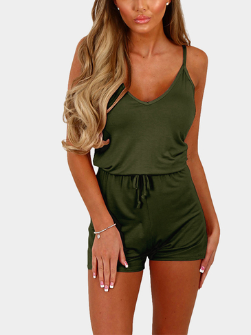 Army Green Sexy V-neck Drawstring Waist Playsuit