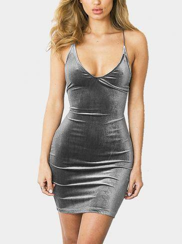 Grey Bodycon Velvet V-neck Backless Spaghetti Mini Dress