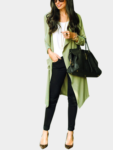 Green Two Pockets Causal Trench Coat