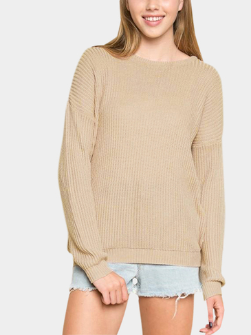 Khaki Round Neck Long Sleeves Jumper