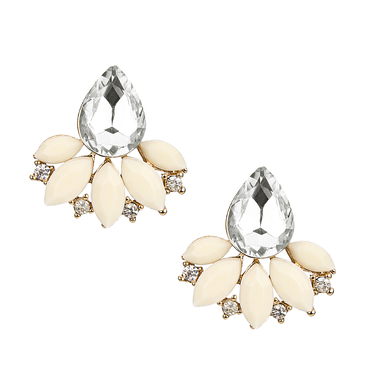 White Flower Water-drop Crystal Stud Earrings