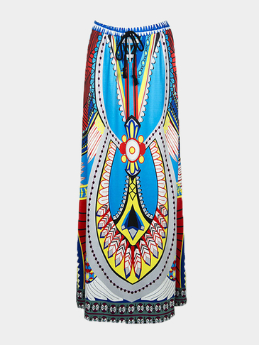 Blue Folk Color Block Geo Print Maxi Skirt