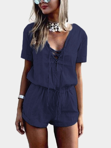 Navy Crossed Front Design Playsuit de cintura de cordão