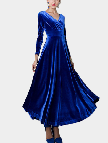 Blue Wrap Front Velvet Maxi Dress