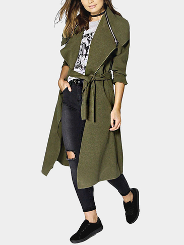 Army Green Lapel Collar Zipper Design Self Tie Belt Trench Coat
