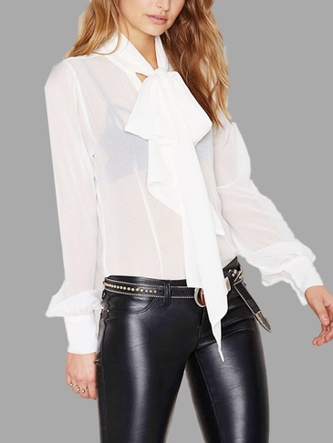 White See-through Long Sleeves Blouse with Scarf