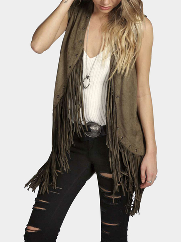 Dark Green Suedette Fringed Gilet with Eyelets
