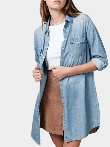 Classic Collar Denim Long Sleeves Shirt