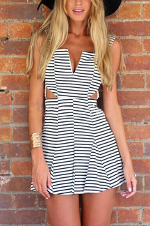 Stripe Pattern Cut Out Sleeveless Mini Dress