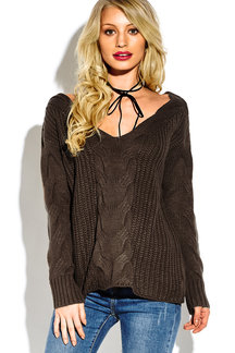 Camel V-neck Long Sleeves Causal Loose Jumper
