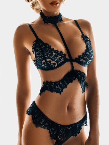 Black See-Through Lace Detail Halter Conjuntos de lingerie sexy
