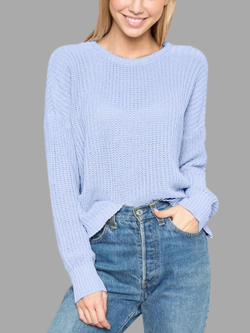 Blue Round Neck Long Sleeves Jumper