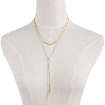 Double Bar and Tassel Pendant Layered Necklace