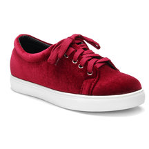 Red Lace-up Rubber Sole Low Top Velvet Sneakers