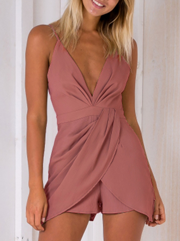 Fashion Deep V-Neck Sleeveless High-waist Playsuit With Shoulder Straps in Marroon