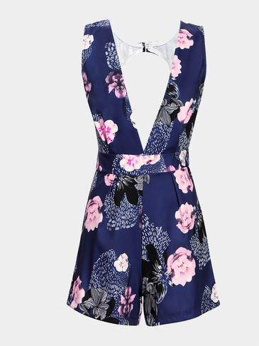 Random Floral Print Sleeveless Plunge V-neck Open Back Playsuit