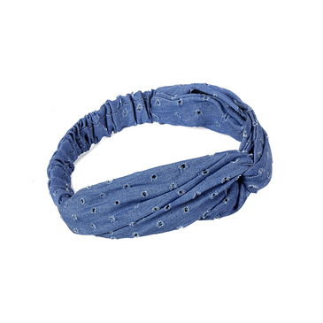 Solid Hole Denim Knotted Stretch Headband