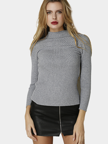 Beige Casual Sweater de cuello alto Sweater de manga larga