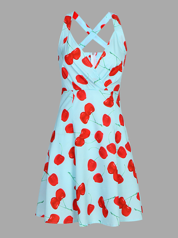 Random Floral Pattern V-neck Dress with Cross Back