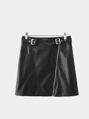 Black Sexy Zipper Front Belt Decoration Mini Skirt
