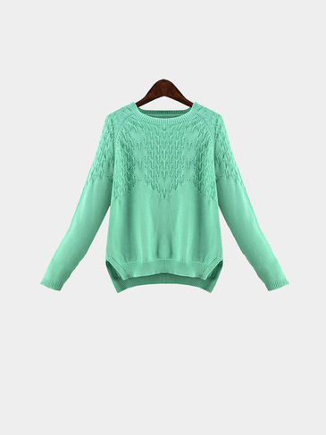 Plus Size Turquois Knit Pullover Sweater