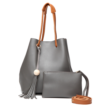 Grey Fashoin Tassel Embellished Shoulder Bag