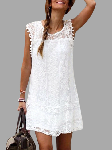 White Lace Details Round Neck Sleeveless Dresses