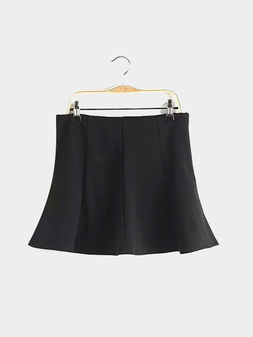 Pleated Mini Skirt in Black