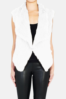 White Fur Waterfall Vest