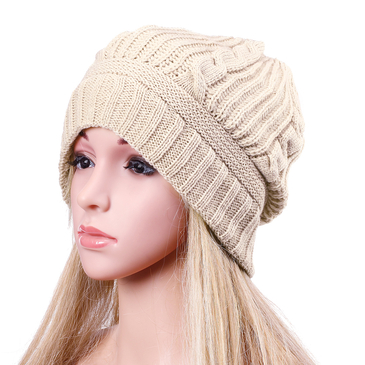 Beige Casual Folded Design Knitted Hat