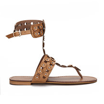 Brown T-bar Design Silver-tone Studding Open Back Flat Sandals