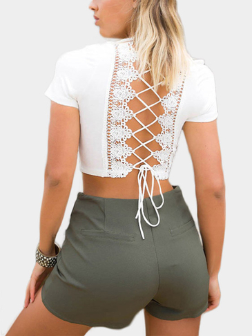 V-neck Criss-cross Back Crop Top em branco