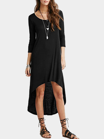 3/4 Length Sleeves Dress with High Low Hem