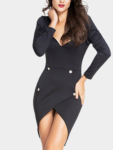 Black Sexy Backless Irregular Hem Bodycon Dress
