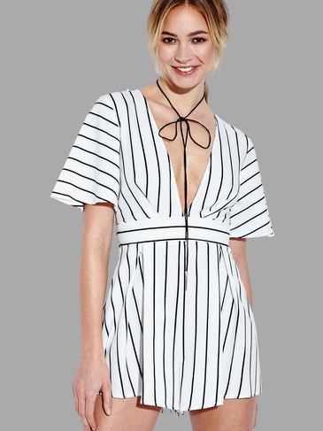 V-neck Stripe Self-tie Back Romper