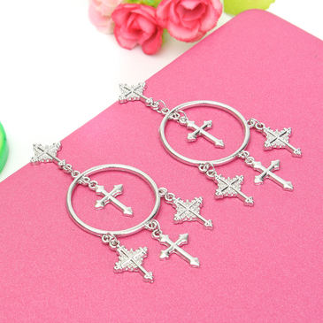 Silver Alloy Cross Pendant Embellished Drop Earrings