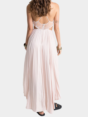 Plunge Lace Insert Cut Out High Low Hem Maxi Dress