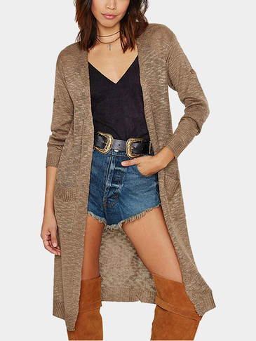 Offene Front Cardigan in Camel
