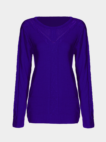 Fashion Blue Pullover Hollow Out Sweater