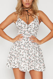 V Neck Random Floral Backless Strappy A-line Dress
