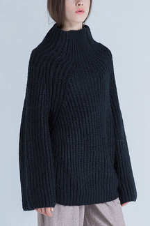 High Neck Knitted Jumper in Black