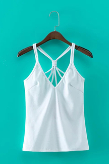 White Plunging Neck Ribbed Cami Top with Strappy Design
